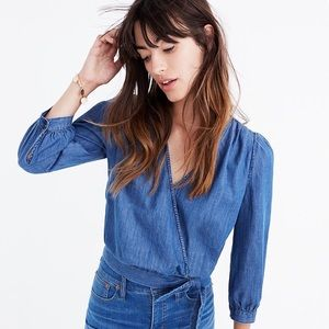 Madewell Denim Wrap Top Chambray Size XS